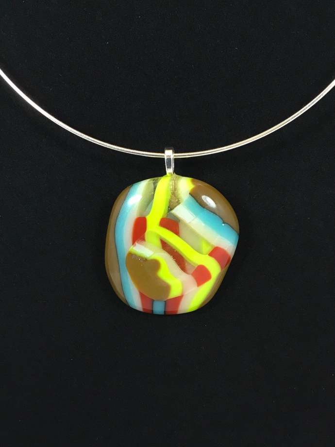 Fused Glass Abstract pendant with necklace