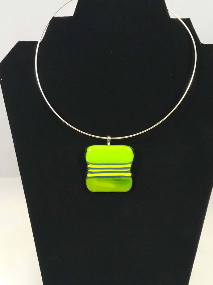 Fused Glass Green pendant necklace