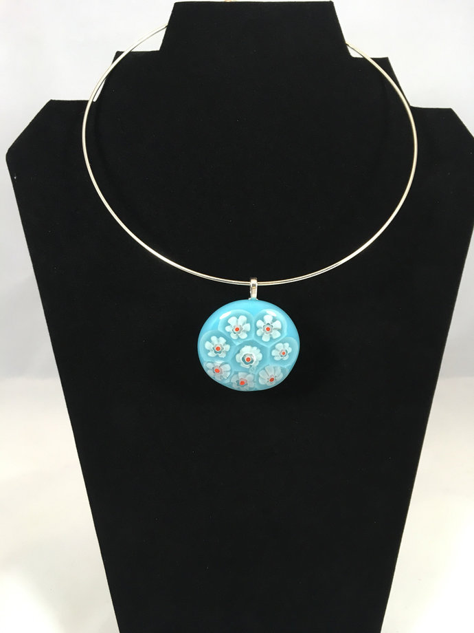 Fused Glass Turquoise Daisy pendant necklace