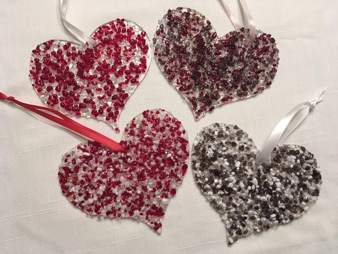 Jeweled Glass heart ornament, heart sun catcher