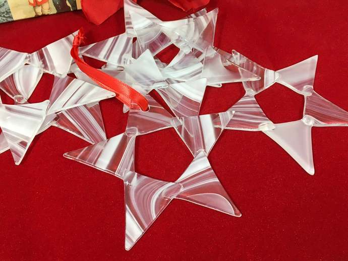 Glass White Star Christmas Ornament for Tree Decoration Window Hanging