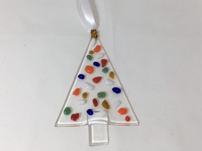 Fused Glass Christmas Tree Ornament Multi-colored Decoration Holiday Suncatcher