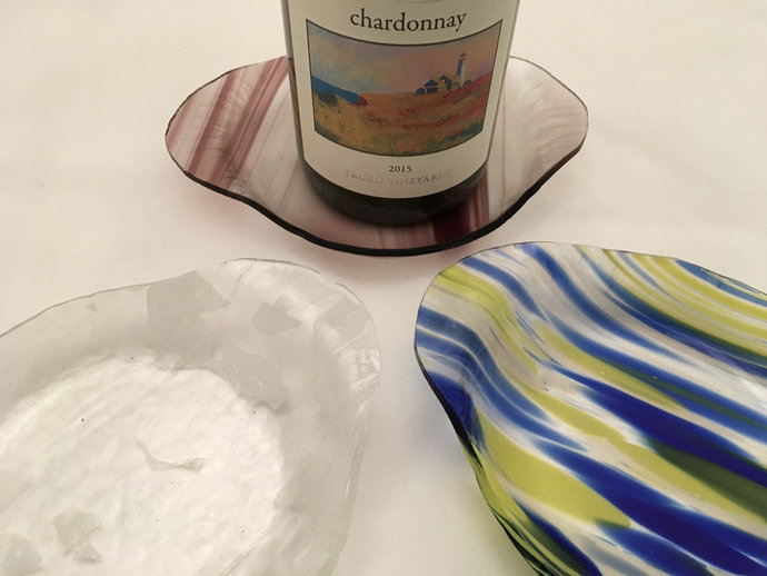 Fused glass Wine bottle coaster / tray