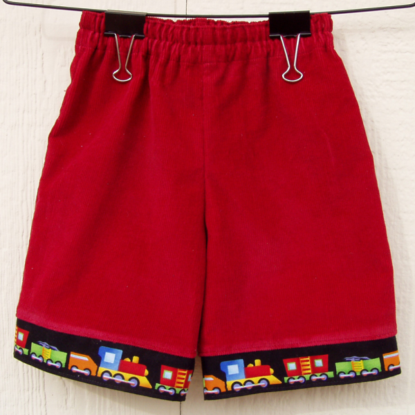 Red Baby Shorts, with Train Cuffs, size 6 months