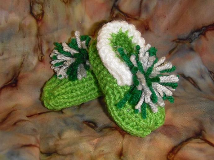 Slytherin House green, grey, white booties SIZE 2 to 2.5
