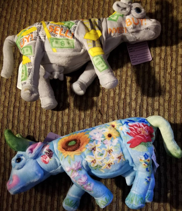 Rare cow parade plushie Sunflowers and Stock Market