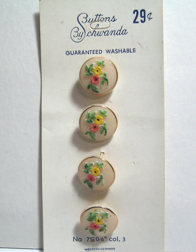"1/2"" 1950's Schwanda Original Card of Tan Glass Buttons with Painted Flowers and"