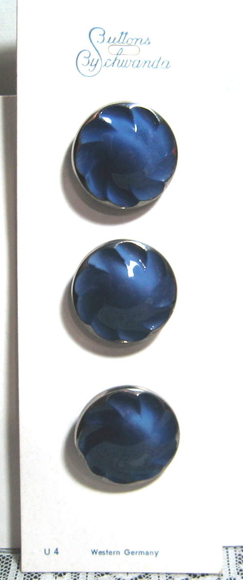 Blue Glass Buttons with Silver Luster 3700-10 Vintage 1950s