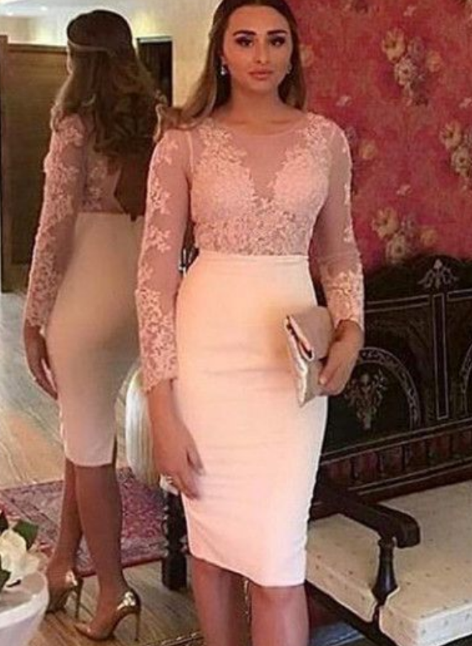 Lace Appliques Sheath Homecoming Party Dresses