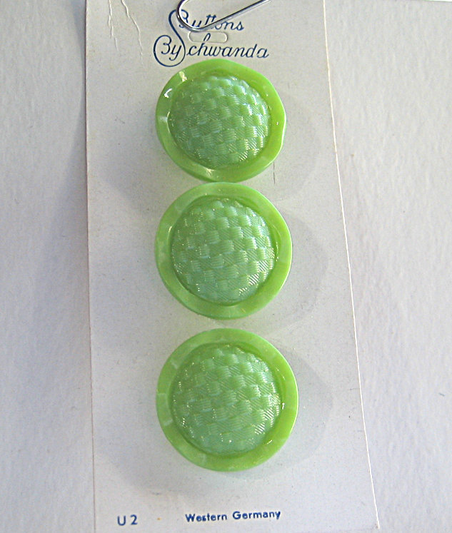 Bright Green Glass Buttons with Basketweave Design 2780-10 Vintage 50s