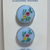 Blue Glass Buttons with Painted Flower Design 7520-8 Vintage 1950s