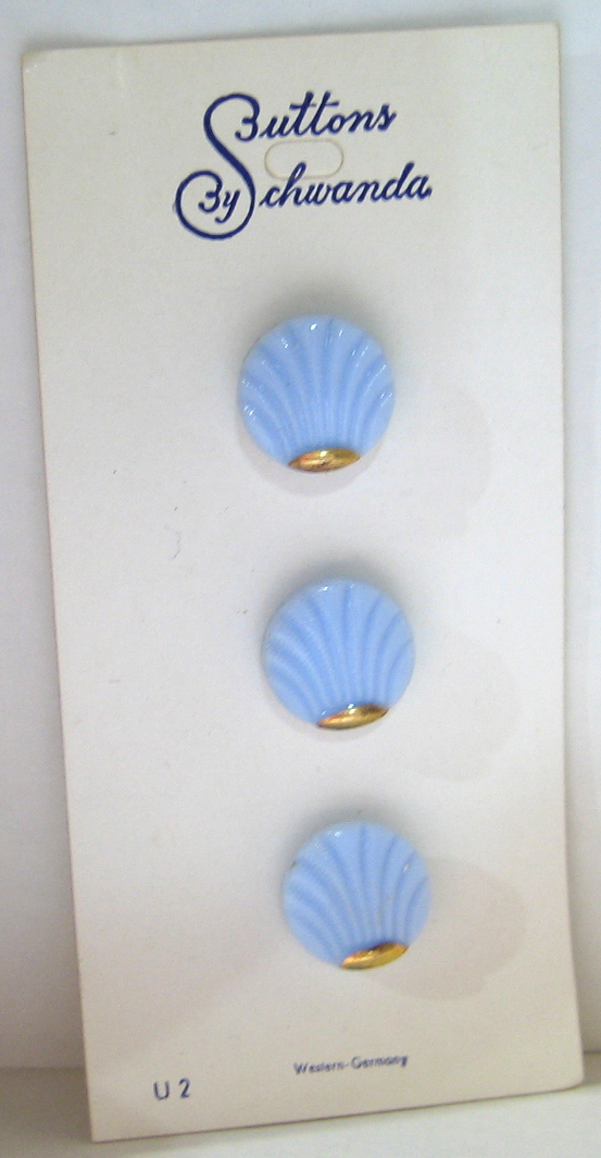 "1/2"" Blue Glass Buttons Shell Design with Gold Luster 7688-6 Vintage 1950s"