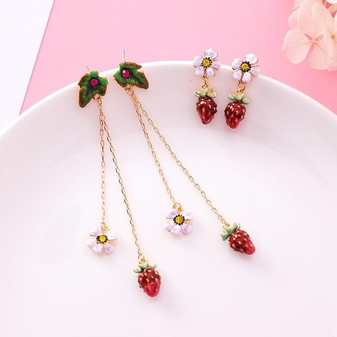 Korean Kawaii Sweet Cute Glaze Strawberry Flower Fruit Leaf Earrings Long Chain