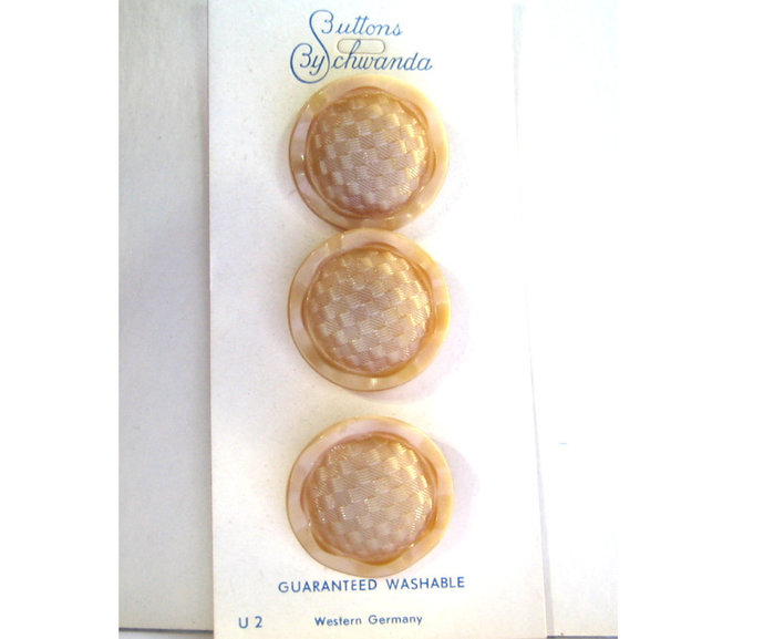 Tan Glass Buttons with Basketweave Design 2780-10 Vintage 50s