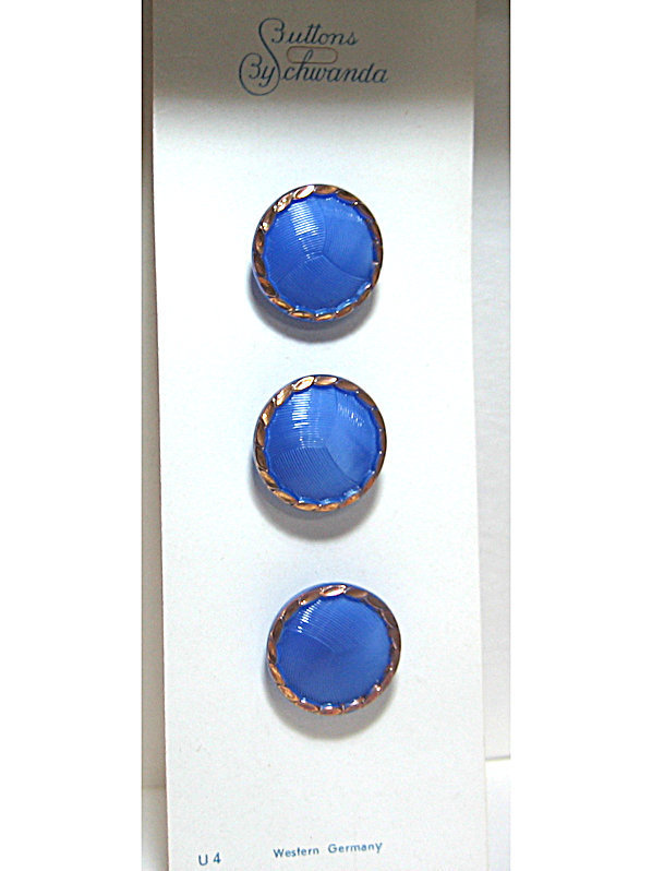 Blue Glass Buttons with Gold Luster Border 3780-8 Vintage 50s