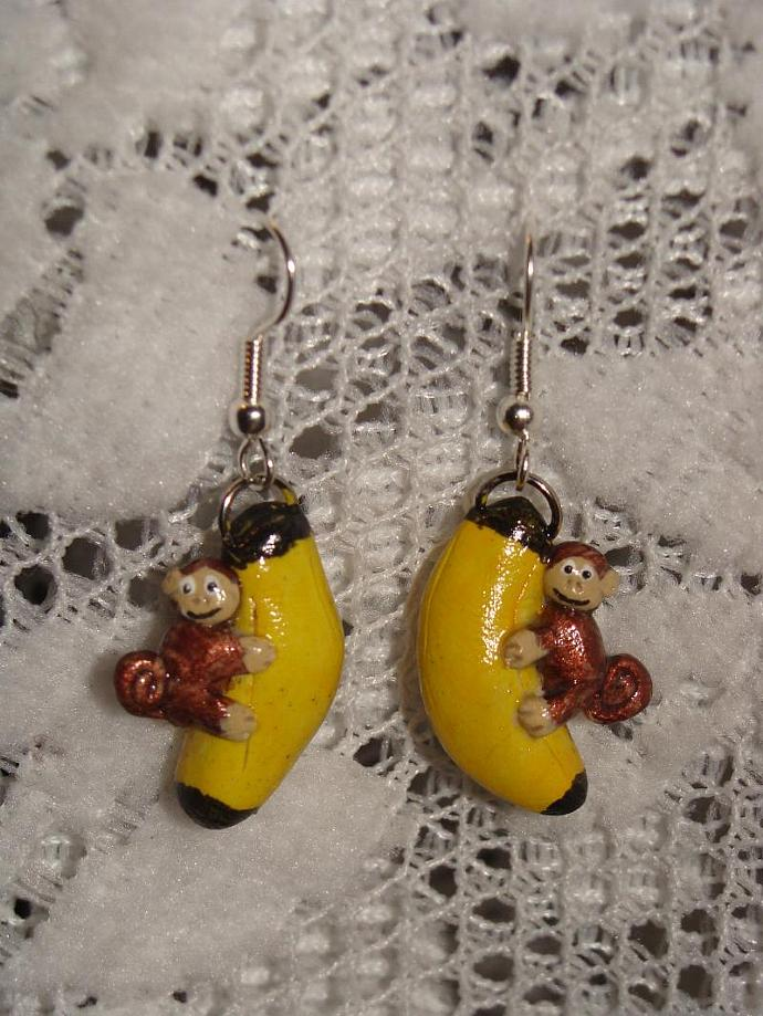 Hand-crafted Banana Monkey Dangle Earrings