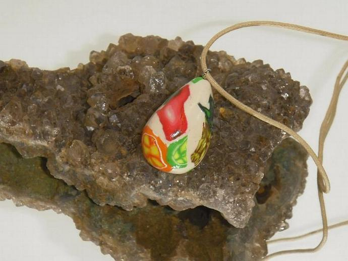 Tutti Fruiti polymer clay pendant