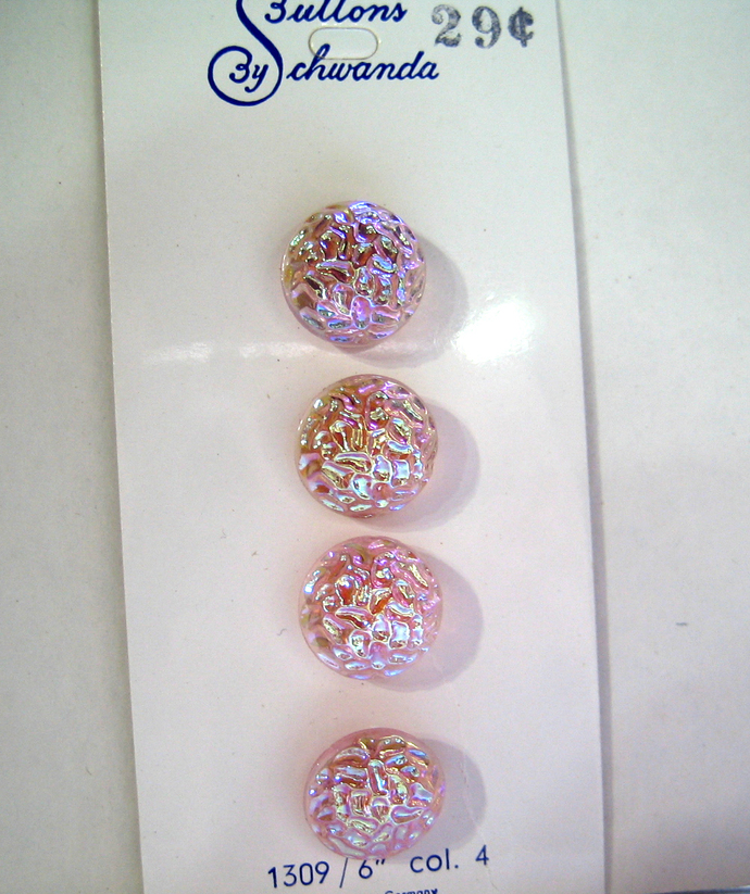 Original card of Transparent Pink Glass Buttons with Gorgeous Iridescent Luster