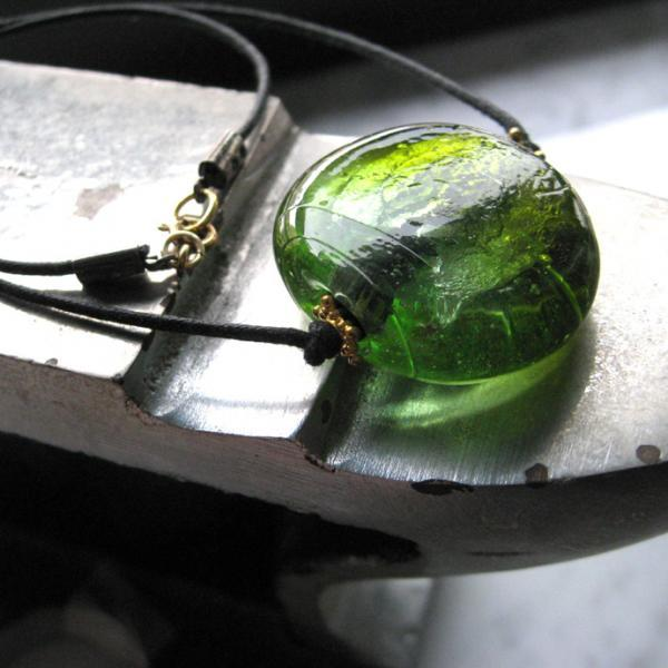 Steampunk Apple Green Pendant Special Sale Black Leather Cord.