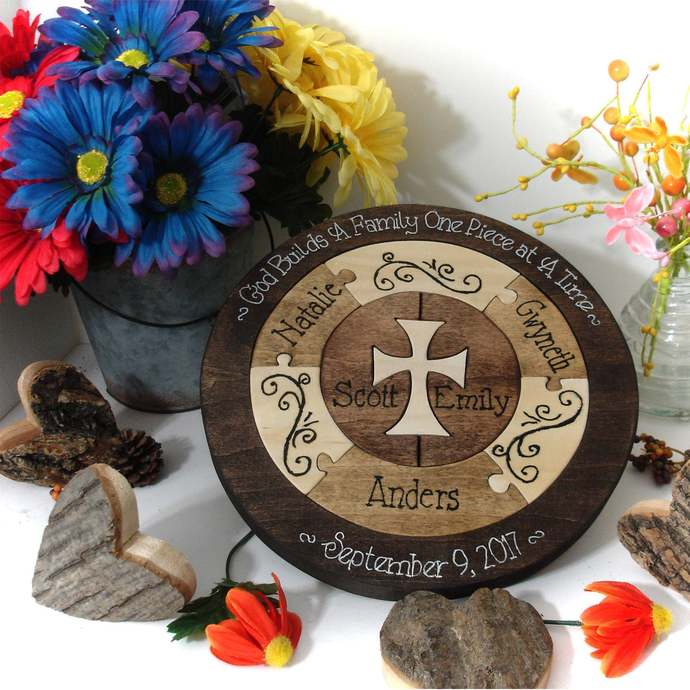 Family Custom Designed Unity Puzzle® With Cross Personalized Blend Family