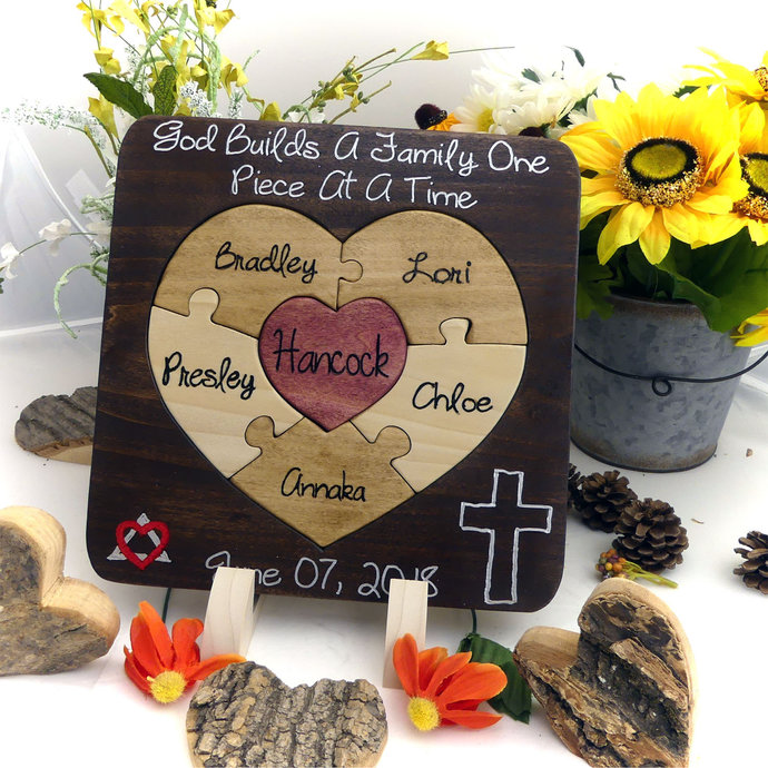 Custom Designed Heart Unity Puzzle® Unity Alternative Blend Family Wedding Unity
