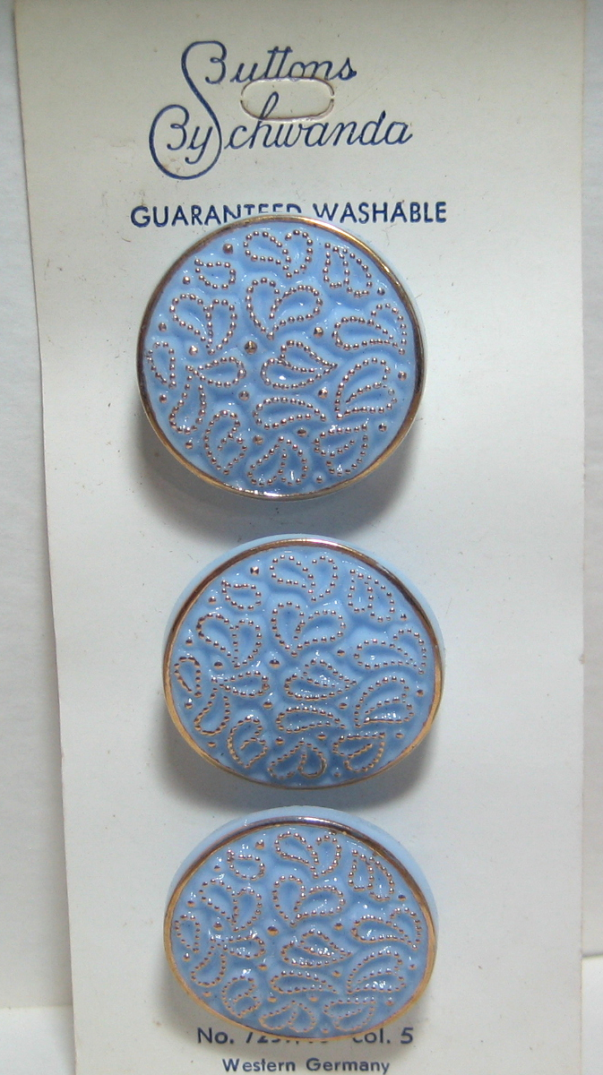 Blue Glass Buttons with Gold Luster and Hearts 7259-10 Vintage 1950s