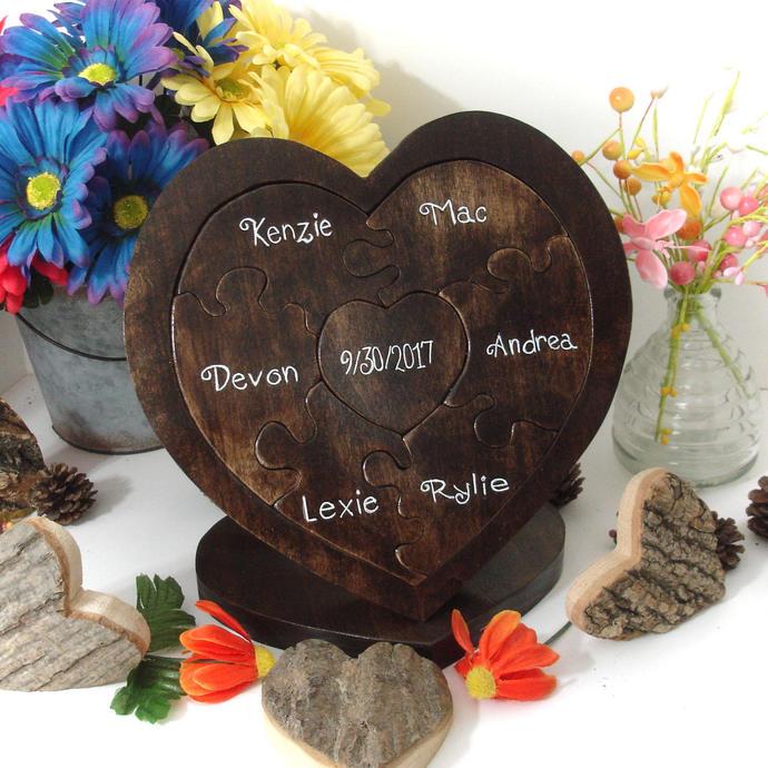 Family Custom Designed Unity Puzzle ® Blended Family Wedding Gift For Couple