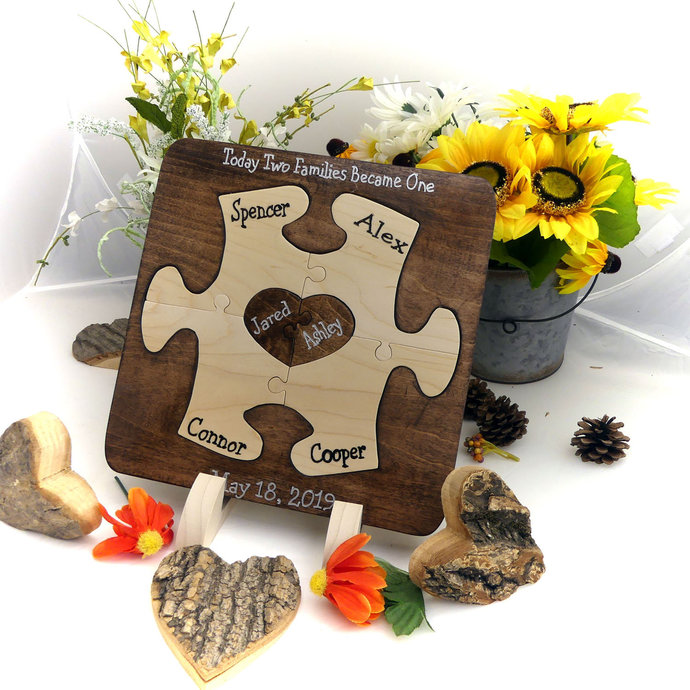 Custom Designed Unity Puzzle ® Wedding Puzzle Blended Family Wedding Gift For