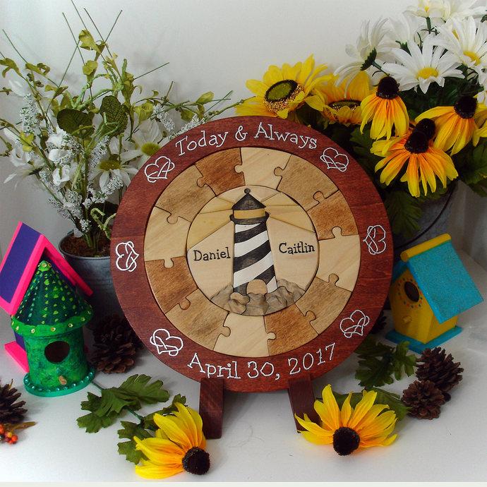 Personalized Lighthouse Wedding Gift Blended Family Wedding Unity Puzzle Custom