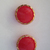 Red Glass Buttons with Gold Luster Border 3780-8 Vintage 50s