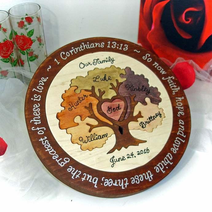Family Tree Custom Designed Unity Puzzle ® Wedding Unity Ceremony Alternative