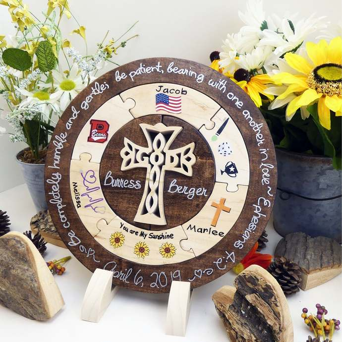 Personalized Wedding Unity Puzzle With Cross Unique Unity Ceremony Ideas Blended