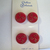 Red Glass Buttons with Gold Luster Floral 7588-8 Vintage 1950s