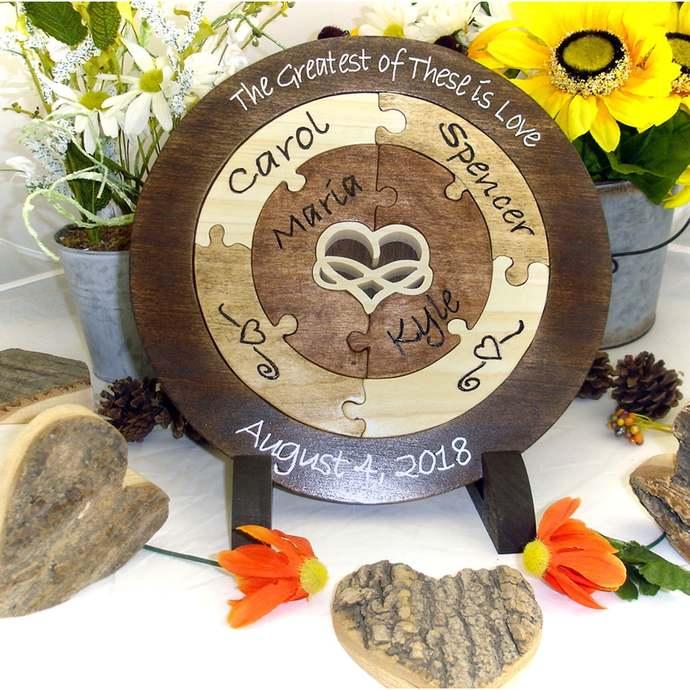 Family Custom Designed Unity Puzzle® Infinity Heart Wedding Unity Ceremony