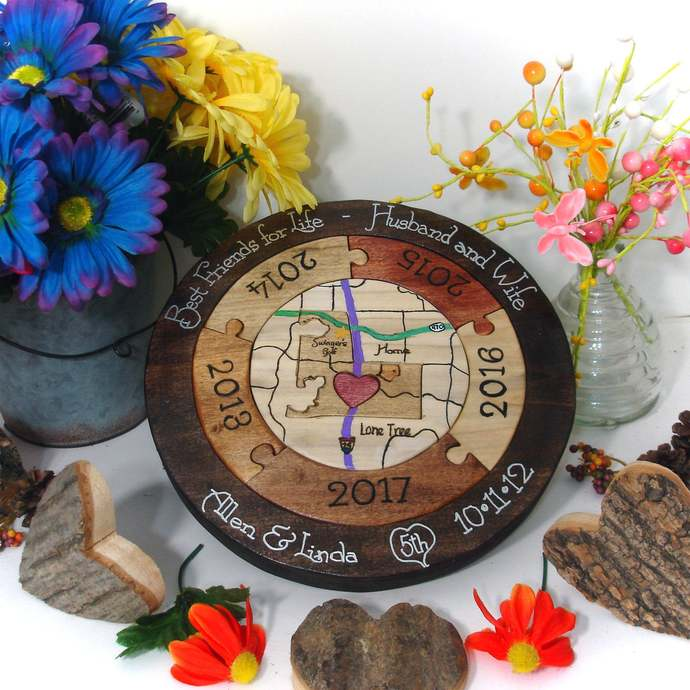 Unique 5th Anniversary Gift Personalized Wooden Anniversary Gift Custom Designed
