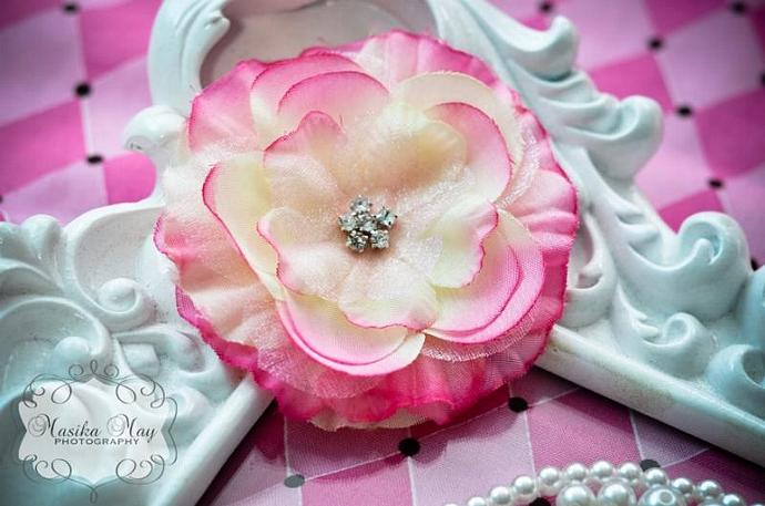 Pink 2-Tone Flower Hair Clip with Rhinestones