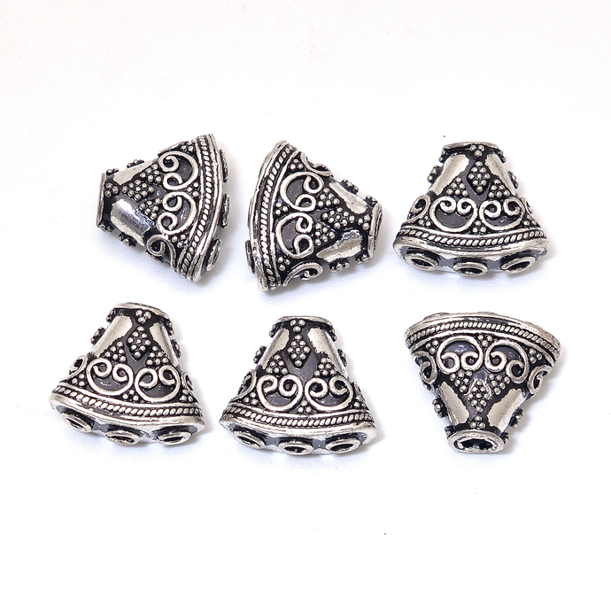 925 Sterling Silver Handmade Bali Oxidized Reducer Necklace 16mm Beads