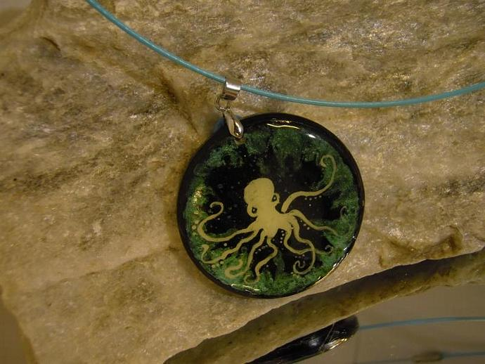 Intelligence of the Deep OCTOPUS wood pendant with silver bail