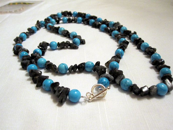 """36"""" Genuine Blue Turquoise and Labrodite Nklace"""