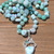 Long Hand Knot Beaded Necklace Larimar boho glam Handmade Jewelry gifts by