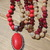 Long Red Coral Beaded Necklace with Pendant Hand Knot Jewelry by KnottedUp