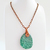 Green Jasper Pendant Necklace on Copper Chain - Natural Earthy Wire Wrapped