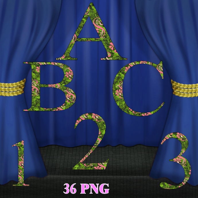 ABC Letters Flower Digital Kit-Digital Clipart-Art Clip-Gift Tag-Jewelry-T