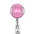 Badge Holder Personalized Pink and White Polka Dots Badge Reel ID, Music Badge