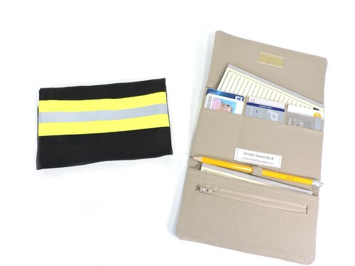 Women's Tri Fold Firefighter Fabric Wallet, Bunker Turnout Gear Look,