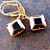 Black and Gold Glass Diamonds Earrings