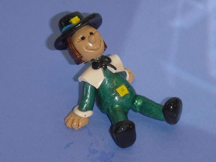 Sam the smiling Pilgrim- polymer clay statue