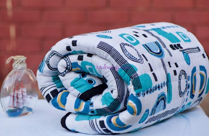 Baby Boy Blanket - Modern Geometric Crib Quilt For Sale - Crib Blanket Turquoise