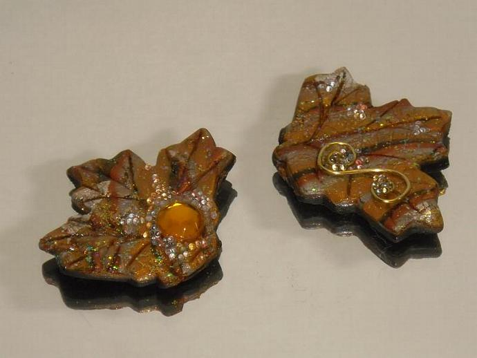 Autumn Leaves Polymer clay findings- for scrapbook, brooches, pins