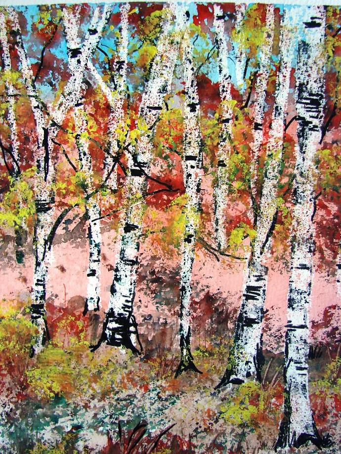 Original Birch Trees- Watercolor Painting